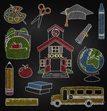 Vector Set of Hand Drawn Chalkboard School Vectors Royalty Free Stock Photos