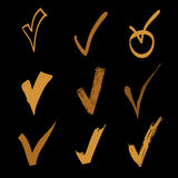Vector set of hand drawn check on black background, doodle gold illustration Stock Photo