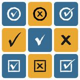 Vector Set of hand drawn Check Marks Icons. Ticks and Crosses Represents Confirmation, Right and Wrong Choices Royalty Free Stock Photo