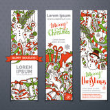 Vector set of hand-drawn Christmas banners. Three vertical festive templates. Christmas decorations and hand-lettering. Christmas tree and baubles, snowman and Stock Image