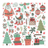 Vector Set of hand drawn Christmas illustrations Stock Photo