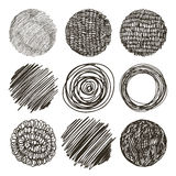 Vector set of hand drawn circles. Sketch, set of textures. Eleme Royalty Free Stock Images