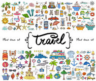 Vector set with hand drawn colored doodles on the  theme of travel, tourism. Sketches for use in design Stock Photos