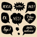 Vector set of hand drawn colorful comic speech bubbles with phrases Hi, Hello, I love you, Yes, Wow, Bye, Welcome, Ok. Stock Image