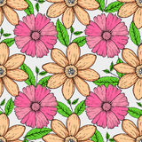 Vector set of hand drawn colorful flowers and leaf branch. illustration  on grey Royalty Free Stock Photography