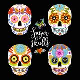 Vector set of hand drawn colorful sugar skulls. vector illustration