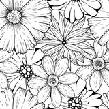 Vector set of hand drawn colorless flowers and leaf branch. illustration  on grey Stock Image