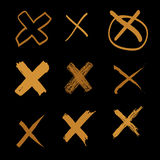 Vector set of hand-drawn cross, doodle gold illustration on black background  Stock Photo