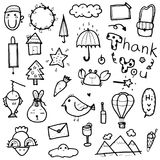 Hand drawn cute doodles collection elements vector illustration of animal, tree, word, objects for prints design or card design