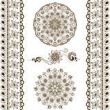 Vector set of hand drawn decorative elements in ethnic indian style. Collection of pattern brushes inside Stock Photo