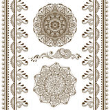 Vector set of hand drawn decorative elements in ethnic indian style. Collection of pattern brushes inside Stock Images