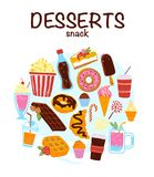 Vector set of hand drawn desserts, snacks & drinks isolated on white background. Soda, popcorn, ice cream, donut, cupcake, coffee to go, cheesecake etc. Sketch stock illustration