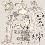 Vector set of hand drawn detailed elements in vintage style Stock Photos