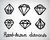 Vector set of hand-drawn diamond icons Stock Image