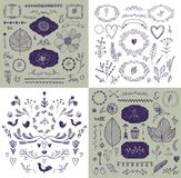 Vector set of hand drawn doodle branches, frames, borders, laurels. Linear romantic wedding collection, graphic design royalty free illustration