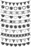 Vector Set of Hand Drawn Doodle Bunting Stock Image