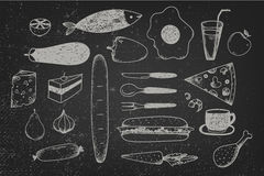 Vector set of hand drawn doodle food on chalkboard Royalty Free Stock Photos
