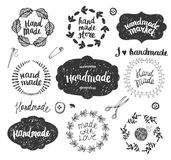 Vector set of hand drawn doodle frames, badges. Handmade, workshop, hand made shop graphic design set. Arts and crafts Royalty Free Stock Photos
