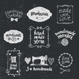 Vector set of hand drawn doodle frames badges. Handmade, workshop Stock Photos