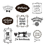 Vector set of hand drawn doodle frames badges. Handmade, workshop. Vector set of hand drawn doodle frames, badges. Handmade, workshop, hand made shop graphic Royalty Free Stock Photos