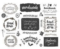 Vector set of hand drawn doodle frames badges. Handmade, workshop. Vector set of hand drawn doodle frames, badges. Handmade, workshop, hand made shop graphic Royalty Free Stock Images