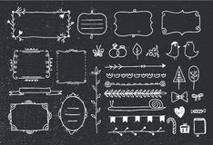 Vector set of hand drawn doodle frames, dividers, design elements. Royalty Free Stock Photos