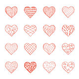 Vector set of hand drawn doodle hearts Stock Images