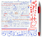 VECTOR set of hand drawn doodle icons and realistic pen. Elements set. Red, orange and blue colors. VECTOR set of hand drawn doodle icons and realistic pen Stock Photography