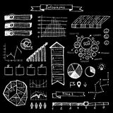 Vector set of hand drawn doodle infographics. On blackboard Royalty Free Stock Image