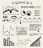 Vector set of hand drawn doodle infographics on. Vector set of hand drawn doodle infographics, notes on graph paper Royalty Free Stock Photo