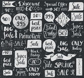Vector set of hand drawn doodle sale lettering, typography, frames, bubbles. Royalty Free Stock Images