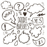 Vector set of hand drawn, doodle speech bubbles. Royalty Free Stock Photography