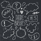 Vector set of hand drawn, doodle speech bubbles. Royalty Free Stock Photos