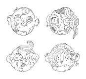 Vector set with hand drawn doodle zombies heads. Ink illustration with lovely characters in black and white.  Royalty Free Stock Photos