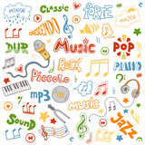 Vector set of hand drawn doodles on music theme. Color music sym Royalty Free Stock Photography
