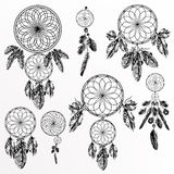 Vector set with hand drawn dream catchers in engraved style Royalty Free Stock Images