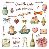 Vector set of hand drawn elements. Doodle love collection. Set of icons for Valentine's Day Stock Photography
