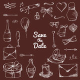 Vector set of hand drawn elements. Doodle love collection. Set of icons for Valentine's Day, Save the Date, wedding objects Stock Photography