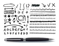 Vector Set of Hand Drawn Elements with Realistic Black Pen. stock illustration