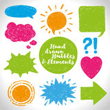 Vector set of hand drawn elements and the speech bubble Royalty Free Stock Image