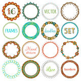 Vector set of 16 hand-drawn ethnic frames. Doodles circle geometric frames isolated on white background. There is place for text in the center of frame Royalty Free Stock Photos