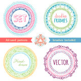 Vector set of hand-drawn ethnic frames. Stock Photos