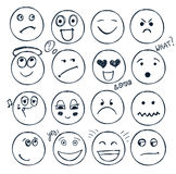 Vector set of hand drawn faces, moods . Doodle Royalty Free Stock Photo