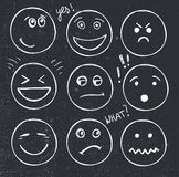 Vector set of hand drawn faces, moods, smiles . Royalty Free Stock Images