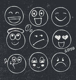 Vector set of hand drawn faces, moods. Royalty Free Stock Photo