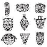 Vector set of hand drawn fancy masks in african style. Royalty Free Stock Photography