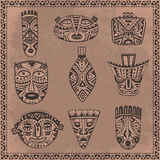 Vector set of hand drawn fancy masks in african style. Stock Photography