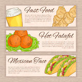 Vector set of hand drawn fast food banners with falafel, taco, soda water and souwlaki Royalty Free Stock Images