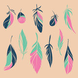 Vector set of hand drawn feathers. Set of different hand drawn feathers. Vector illustration Royalty Free Stock Photos