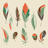Vector set of hand drawn feathers. Set of different hand drawn feathers. Vector illustration stock illustration